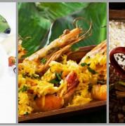 En la preparación de platos como el viche de mariscos (izquierda) se utiliza el comino; en el encocado de langostinos (centro), el cilantro o chillanguay; y en el morocho, la canela, pimienta dulce y el clavo de olor. Cortesía El Universo